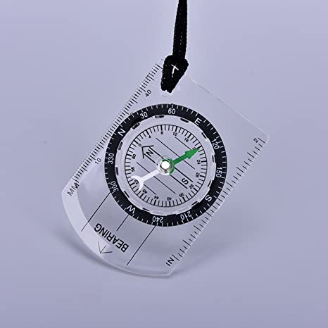 Outdoor Military Compass Scale Ruler Baseplate Mini Compass For Camping Hiking.~