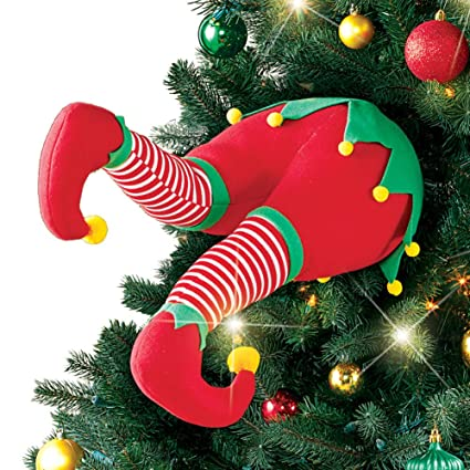 santa and elf christmas tree legs decoration elf - Elf Legs Christmas Decoration