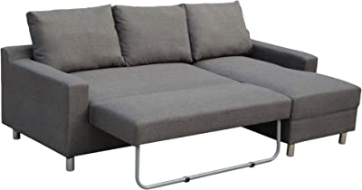 New Spec Sectional Fabric Sofabed with Built In Right Facing Ottoman, Grey