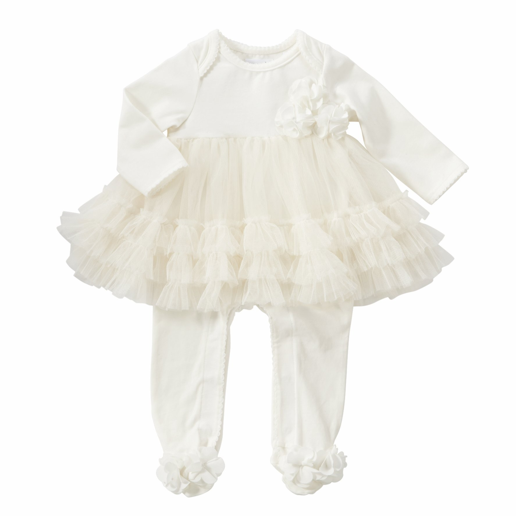 Mud Pie Girls Sleeper Ivory Mesh Skirted Cotton Baby Apparel 3-6 Months