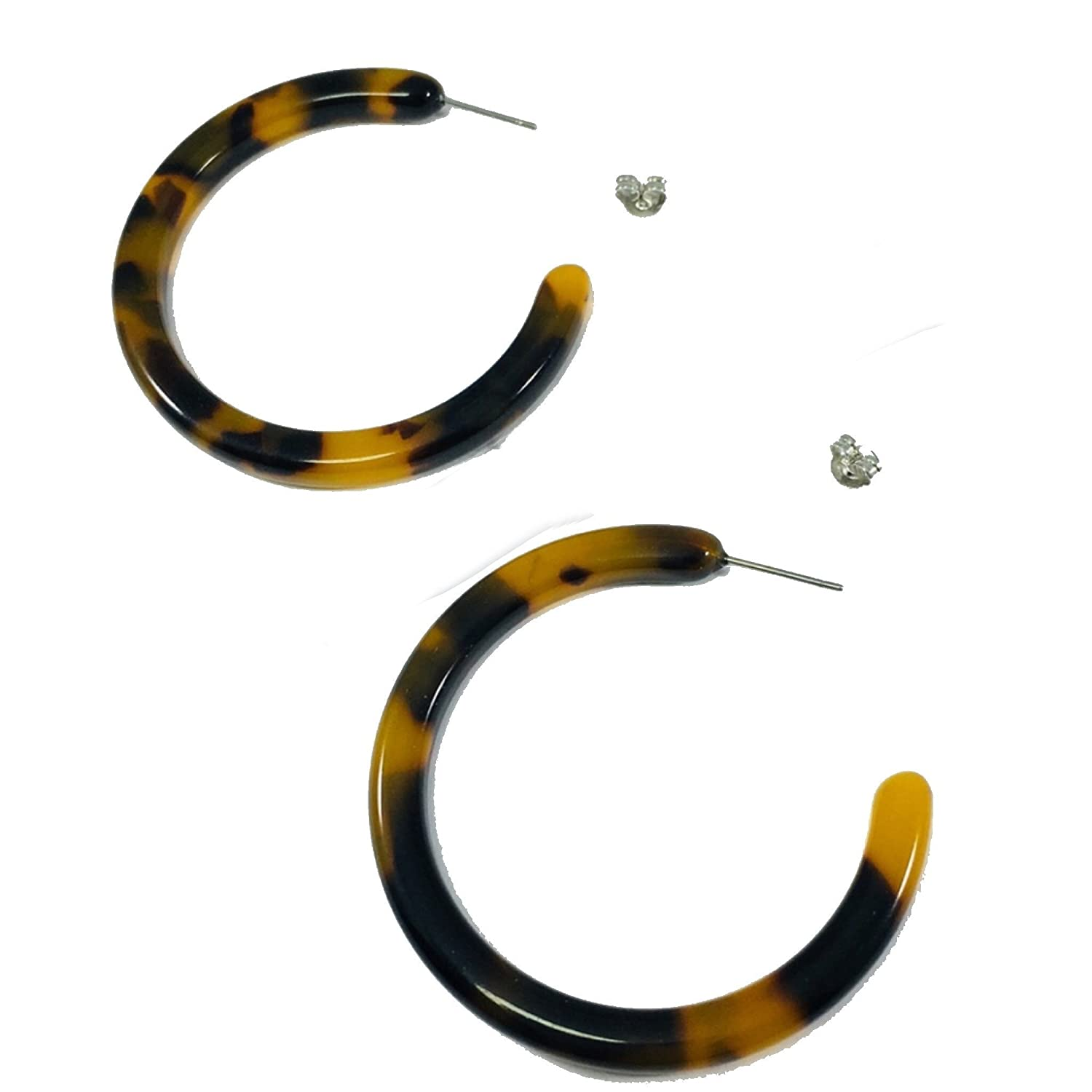 dcf1f958b0d Amazon.com  Tortoise Shell Earrings Hoop Earrings Brown Jewelry Auralee    Co.  Jewelry