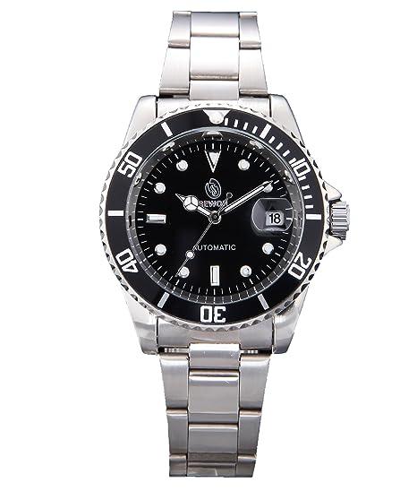 SEWOR reloj para hombre de alta calidad elegante vestido de los hombres de acero inoxidable reloj automático: Amazon.es: Relojes