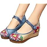 Hibote Zapatos Para Mujer de La Lona del Bordado de Las Se?oras Mary Jane Ligera Verano de La Correa Roja 250 ps90e
