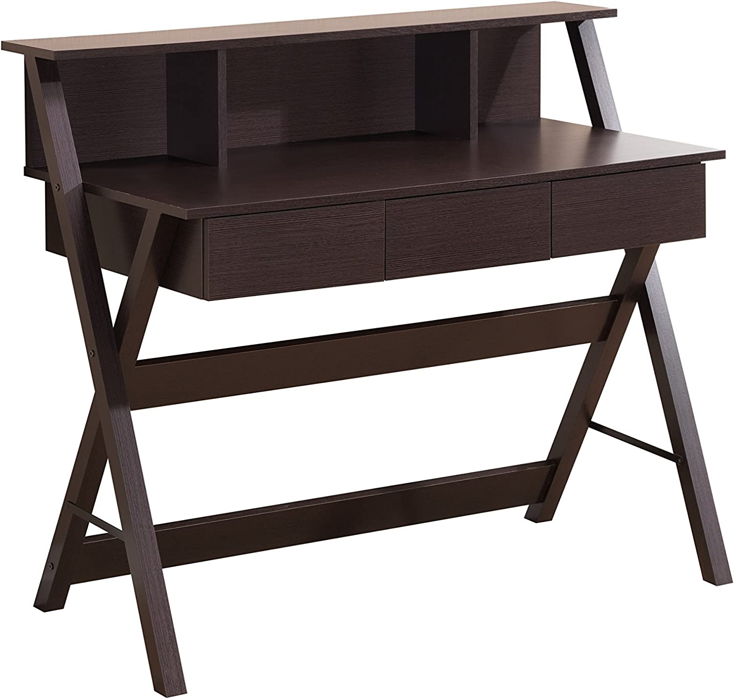 Techni Mobili Fashionable Workstation with Shelf and Storage in Wenge