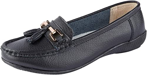Ladies Nautical Wide FIT Leather Smart