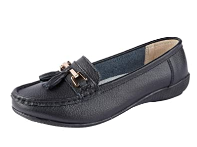 limited guantity top-rated genuine performance sportswear Ladies Nautical Wide FIT Leather Smart Loafer Tassel Moccasin Flat Slip On  Comfort Shoe Size 4-8