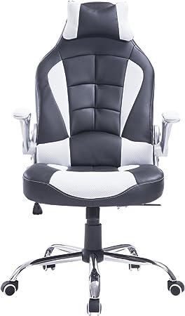 Fauteuilchaise de bureau modèle baquet de course grand confort hauteurinclinaison dossier réglables blanc et noir