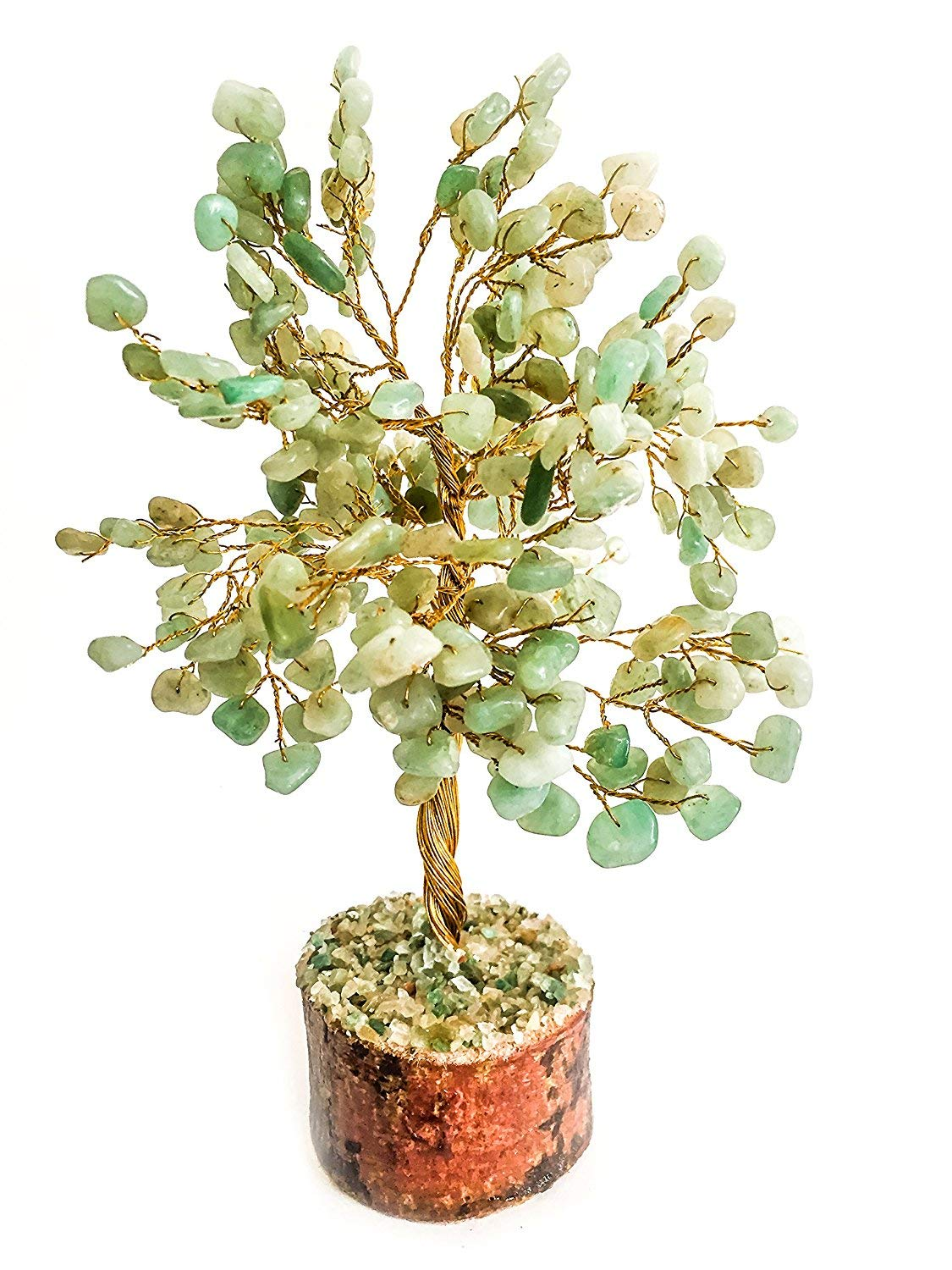 Wealth Home Office Decor Gift Golden Wire Size 10 inch Crocon Green Jade Natural Color Healing Gemstone Crystal Bonsai Fortune Money Tree for Good Luck