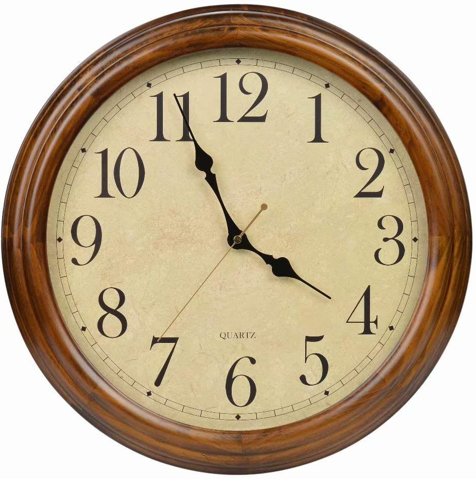 Old Oak 16-Inch Solid Wood Silent Non-Ticking Decorative Wall Clock with Large Arabic Numerals