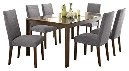 1543d40333 Image Unavailable. Image not available for. Color: Factor Modern 7PC Dining  Set Black Glass Top Table, 6 Chair ...