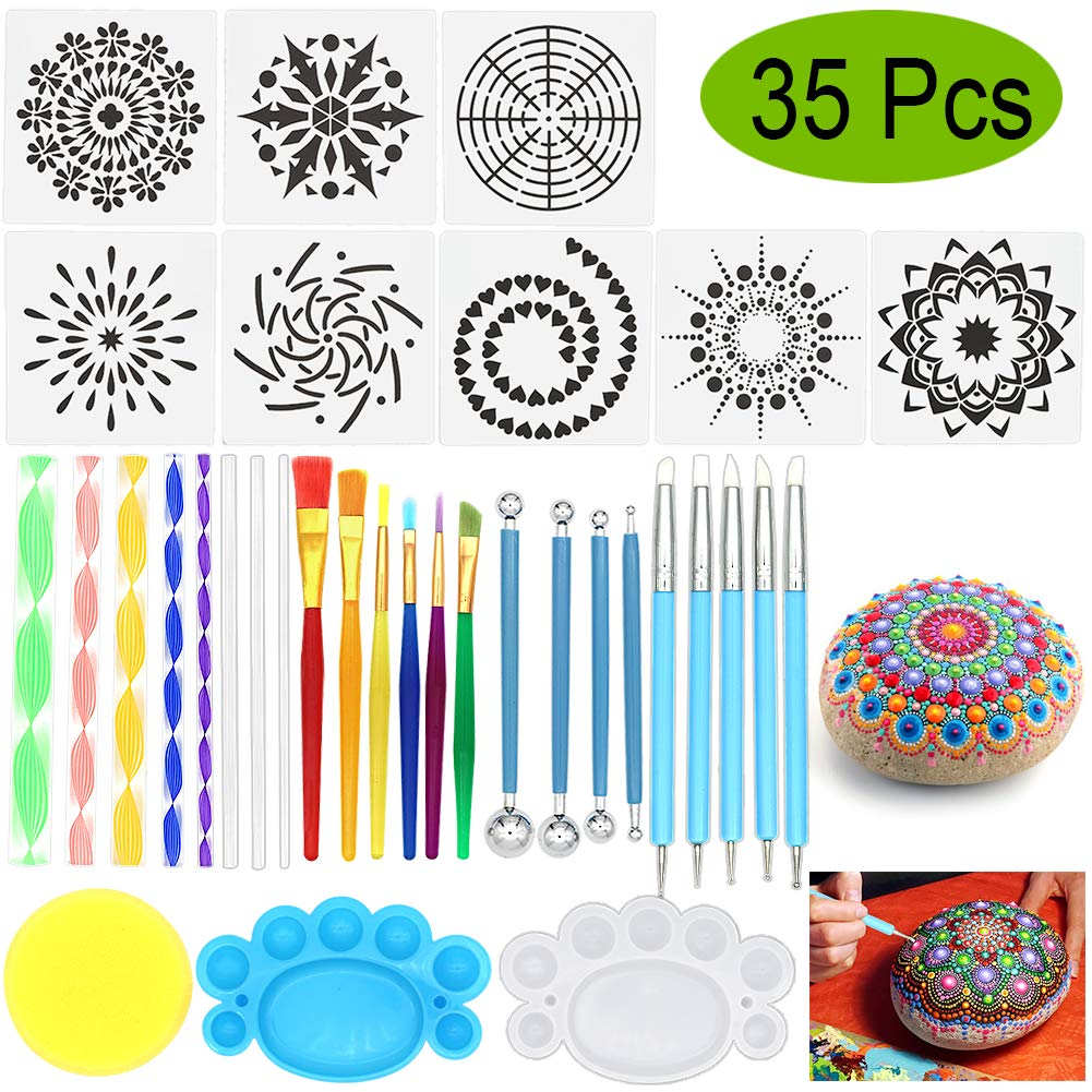 Mandala Dotting Tools, Angela&Alex 35 PCS Dotting Tools Stencil Mandala Painting Tool Kits Brushes Paint Tray for Painting Rocks Coloring Drawing and Drafting Art Supplies by Angela&Alex