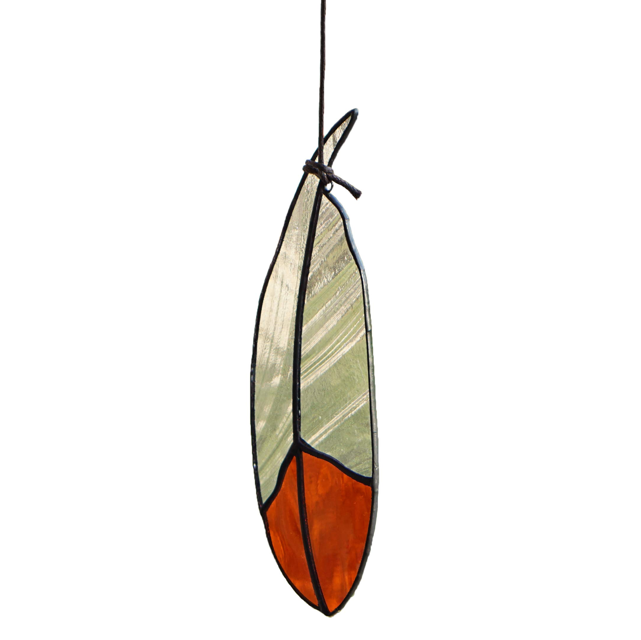 Stained Glass Window Hangings Window Decorative Ornaments Stained Glass Feather Glass SunCatcher for Window Treatment, 7.1'' Inch (Orange)