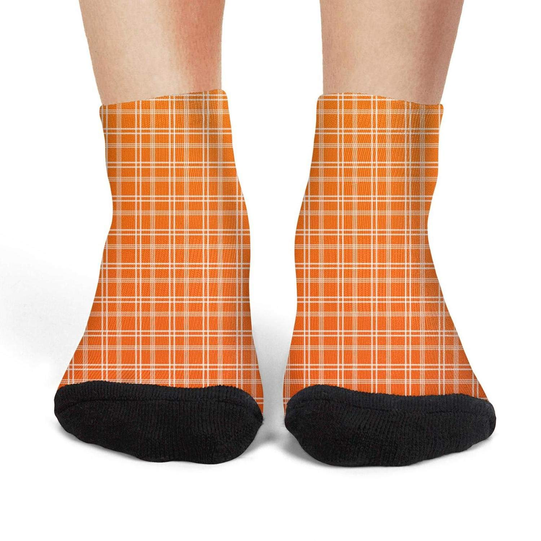 Mens athletic low cut Ankle sock Plaid printing Gradient orange Non-Slip Fit Short Sock