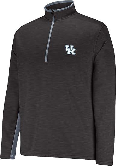 NCAA Mens First Down 1//2 Zip Sweater Black//Grey Kansas Jayhawks Medium