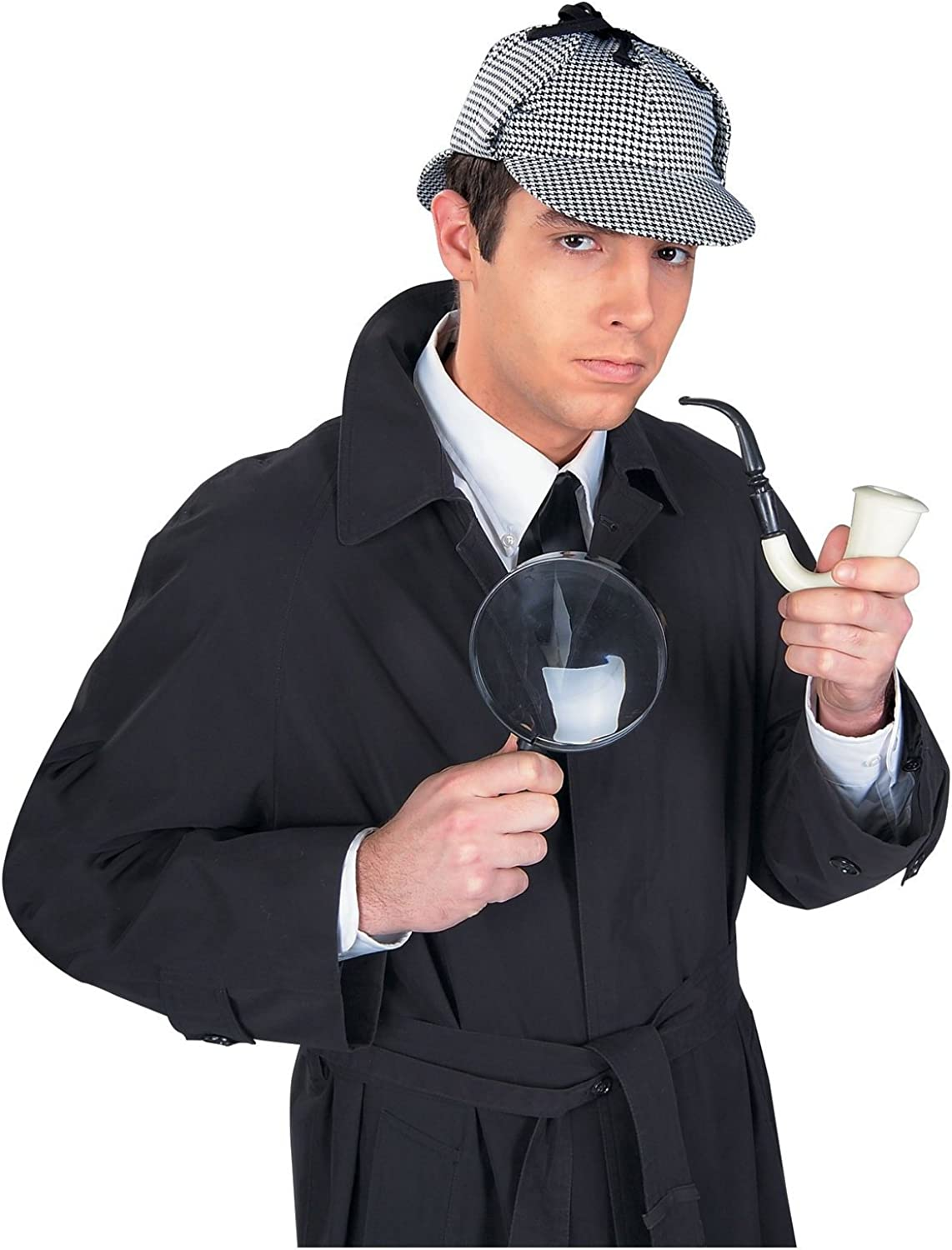 Sherlock Holmes Detective Kit Hat Pipe Magnifying Glass Houndstooth Cap Costume Black and White