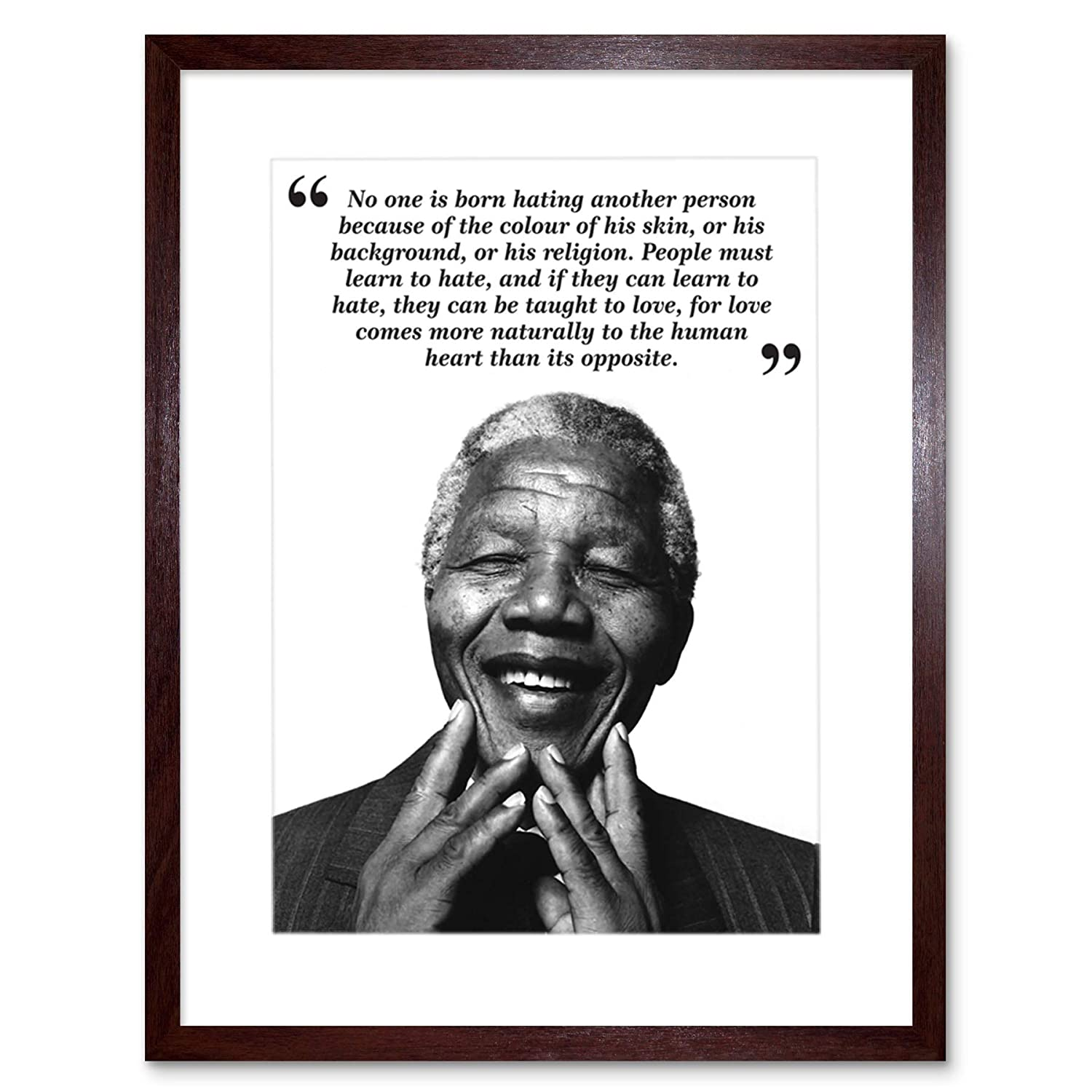 9x7 inch no one is born hating nelson mandela bw typography quote framed wall art print picture painting wooden photo frame black white oak brown f97x631