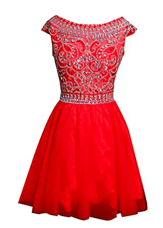 AngelDragon Rhinestones Beading Short Prom Dresses Party Gowns UK-4 Custom Made Colour
