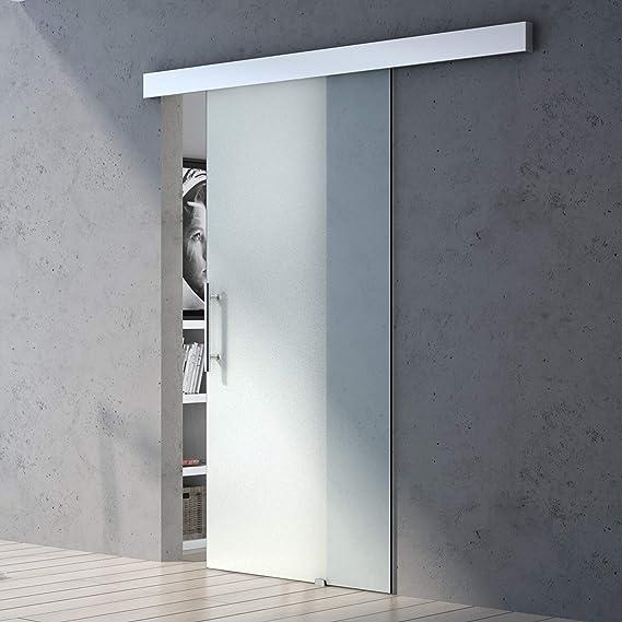 90 x 205 cm Diseño de correderas de cristal de puerta de Amalfi TS14-900, de vidrio templado de vidrio de seguridad de zona llena de satén: Amazon.es: Bricolaje y herramientas