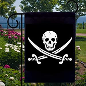 BYRON HOYLE Jolly Roger Skull and Crossbones Garden Flag Decorative Holiday Seasonal Outdoor Weather Resistant Double Sided Print Farmhouse Flag Yard Patio Lawn Garden Decoration 12 x 18 Inch