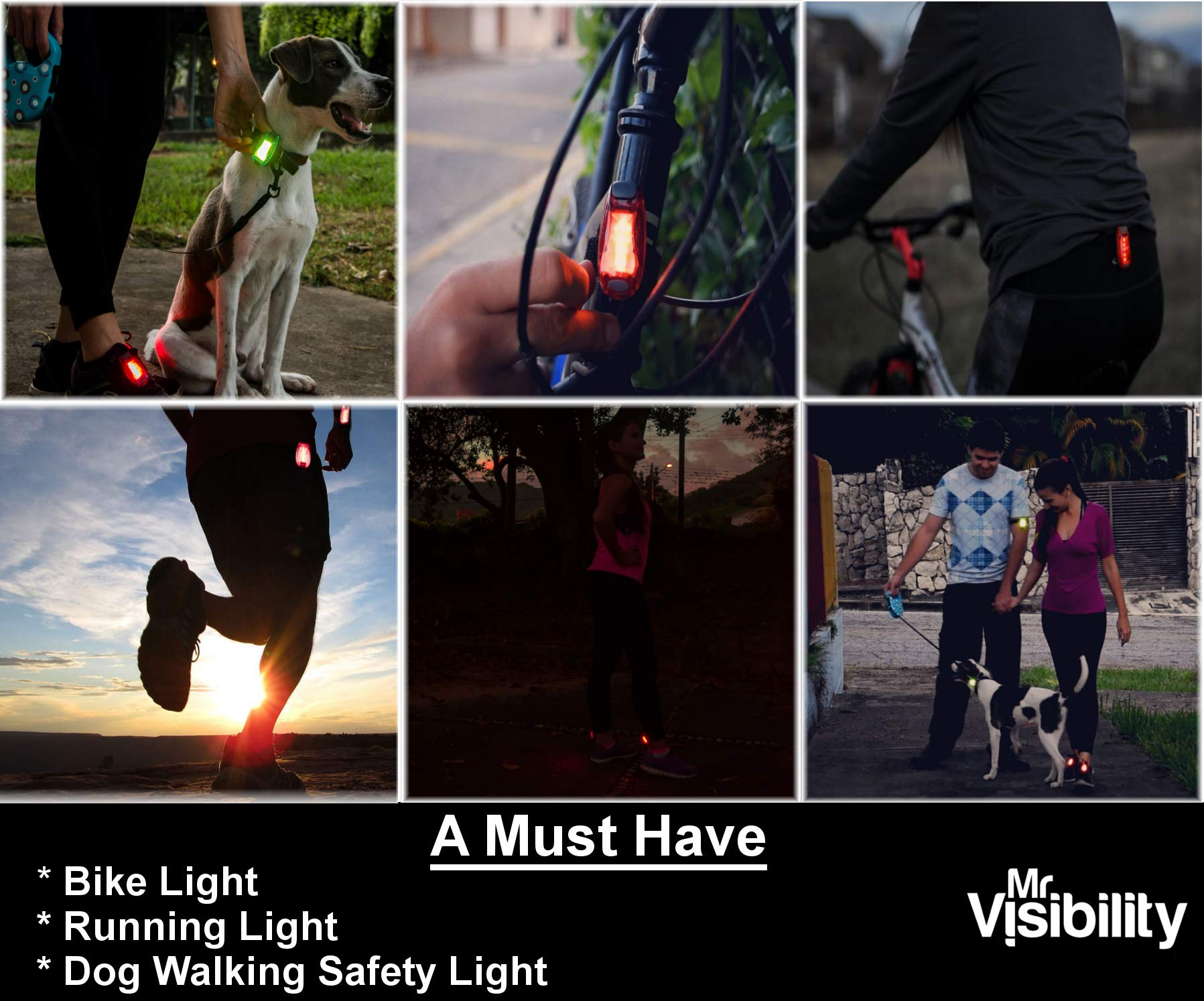 LED Safety Light (2 Pack) + Bonuses New Version | Clip On Strobe/Running Lights for Runners, Dogs, Bike, Walking | The Brighter High Visibility for Outdoor, Pet Collar, Helmet, Reflective Gear | Green