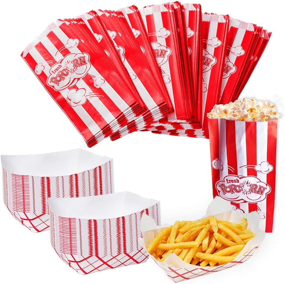 Movie Party Supplies - 150 Pc Bulk Set - 100 Popcorn Bags & 50 Paper Food Trays - Holiday Party - Concession Stand Supplies - Circus Party by Tigerdoe