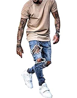 d148f12082 Amazon.com : Skinny Ripped Jeans for Men Distressed Biker kanye west ...