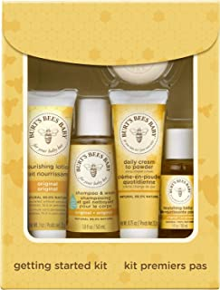 product image for Burt's Bees Baby Getting Started Gift Set, 5 Trial Size Baby Skin Care Products - Lotion, Shampoo & Wash, Daily Cream-to-Powder, Baby Oil and Soap, yellow 1 Count