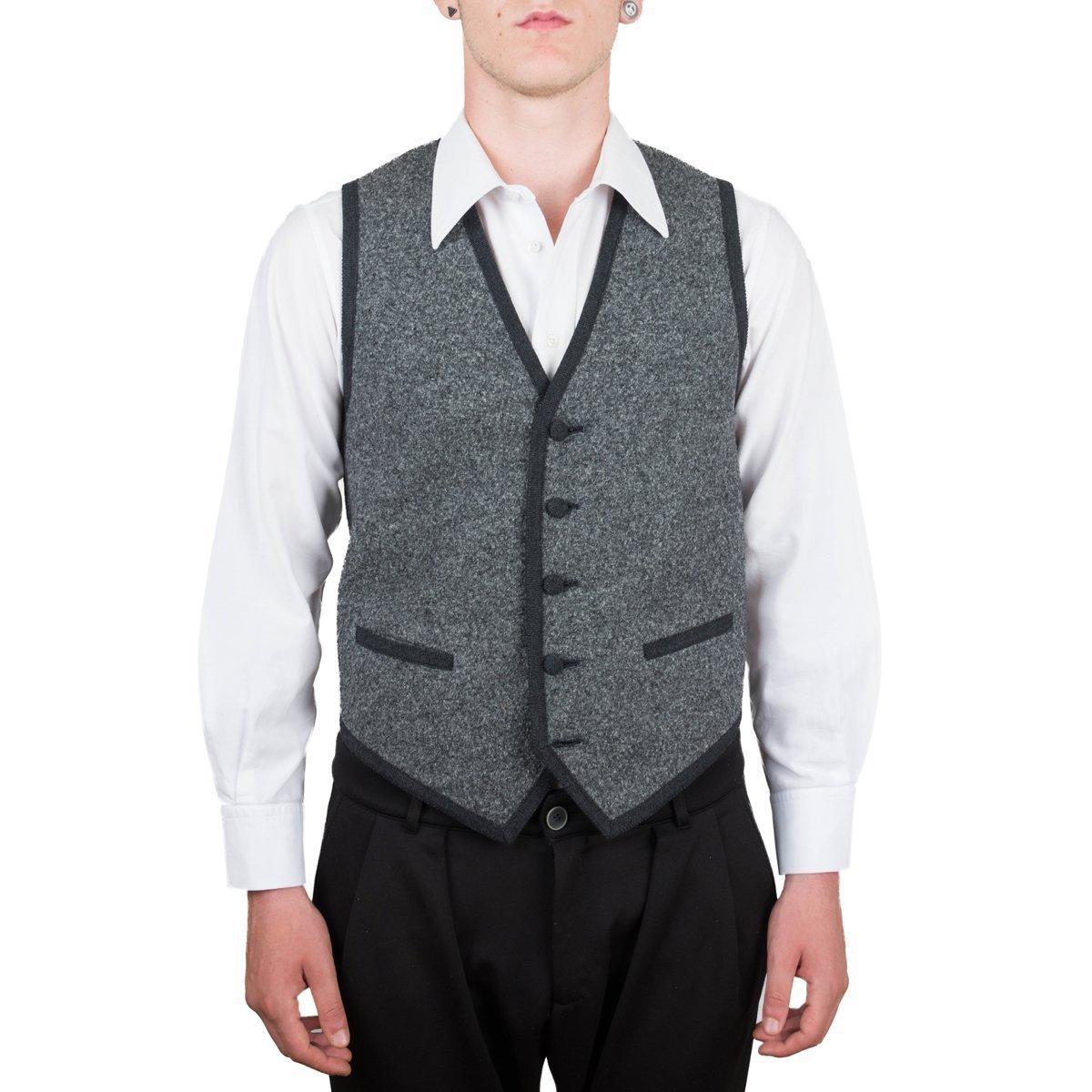 Vest, Gilet, Waistcoat, Knitwear, Men, Boy, Black, Grey, Brown, Melange, Tailored, Wool, Buttons, Pockets, Casual, Business, Formal, Sleeveless, Italian Fabric, Italian Style, Made in Italy, Handmade