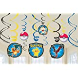 Amscan 12 Count Pokemon Foil Swirl Decorations, Multicolor