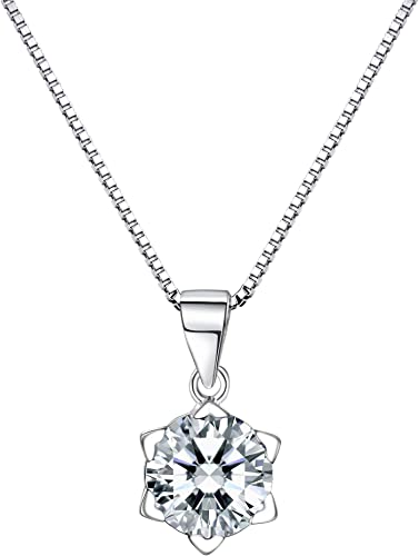 wostu Shining S925 Sterling Silver Necklace With AAA crystal Heart Pendant Chain