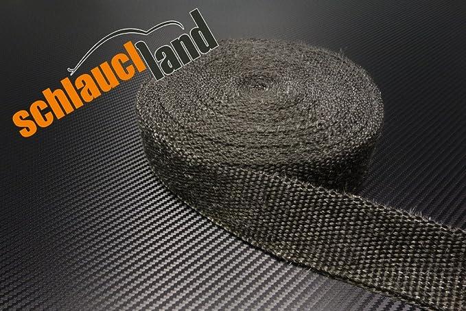 20m Hitzeschutzband 50mm schwarz SCHLAUCHLAND*** Auspuffband Thermoband Kr/ümmerband Heat Wrap Basaltfaser Isolierband