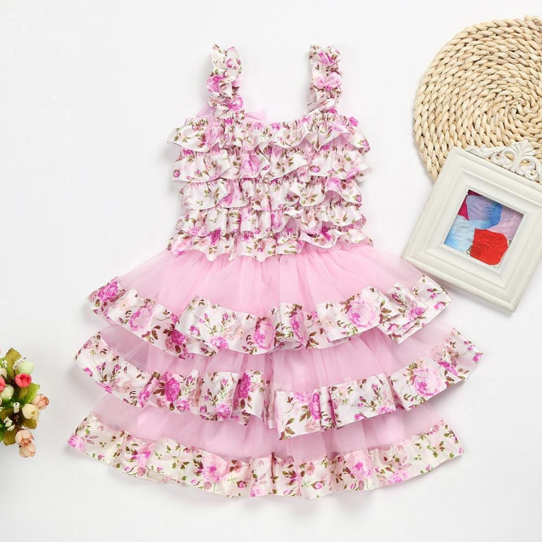 Wanshop Girl Dress Kids Lace Sleeveless Layered Princess Dress Summer Party Casual Pretty Dresses Age 2-6 Years