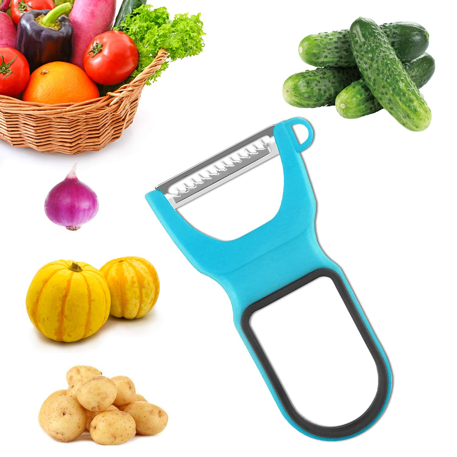3pcs Kitchen Trio Vegetable Peeler Stainless Steel Blades with Non-Slip Handle
