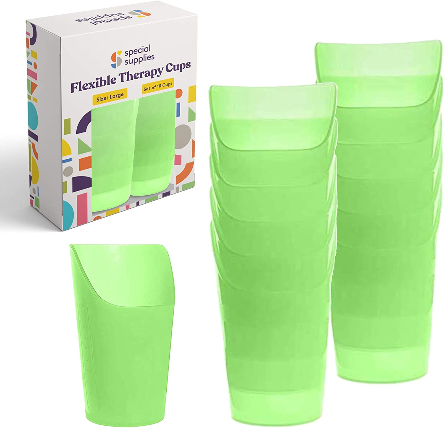 Special Supplies Pack of 10 Large Flexible Drinking Cups with Nose Mold Cutout for Physical Therapy, Recovery, and Rehabilitation, BPA-Free Drink Tumblers, Kids and Adults, 10 oz.