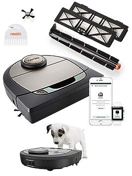 Neato Robotics D750 Premium Pet Edition - Compatibile con Alexa - Robot aspirapolvere con stazione di