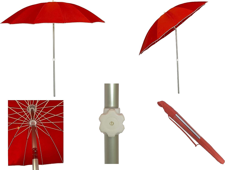 Sombrilla Jardin/Playa Estilo Japonés Aluminio 16 Varillas de Fibra de Vidrio, 240 cm diámetro (Rojo)