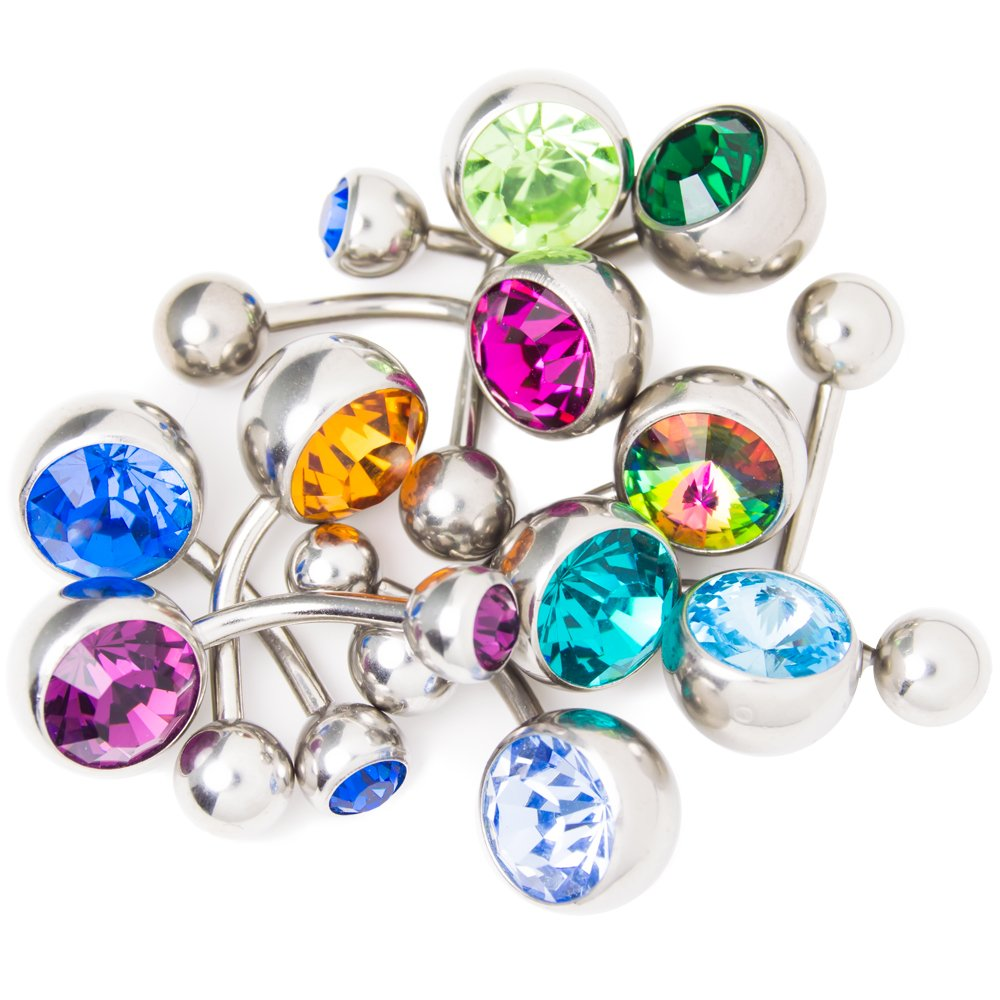 14ga-3//8 - 316L Surgical Steel BodyJewelryOnline 10 Assorted Belly Ring Mix Large CZ Gems 10mm
