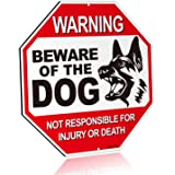 """ANLEY Beware of The Dog Aluminum Warning Sign, No Responsible for Injury Or Death Warning Dog Sign - UV Protected and Weatherproof - 12"""" x 12"""""""
