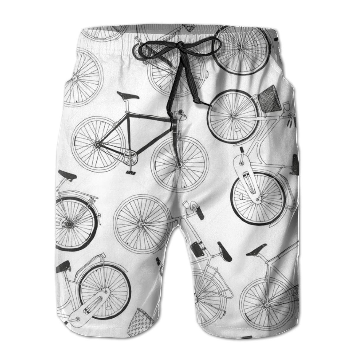 Mens Swim Trunks Hipster Hand Drawn Vector City Bikes Quick Dry Beach Board Shorts with Mesh Lining