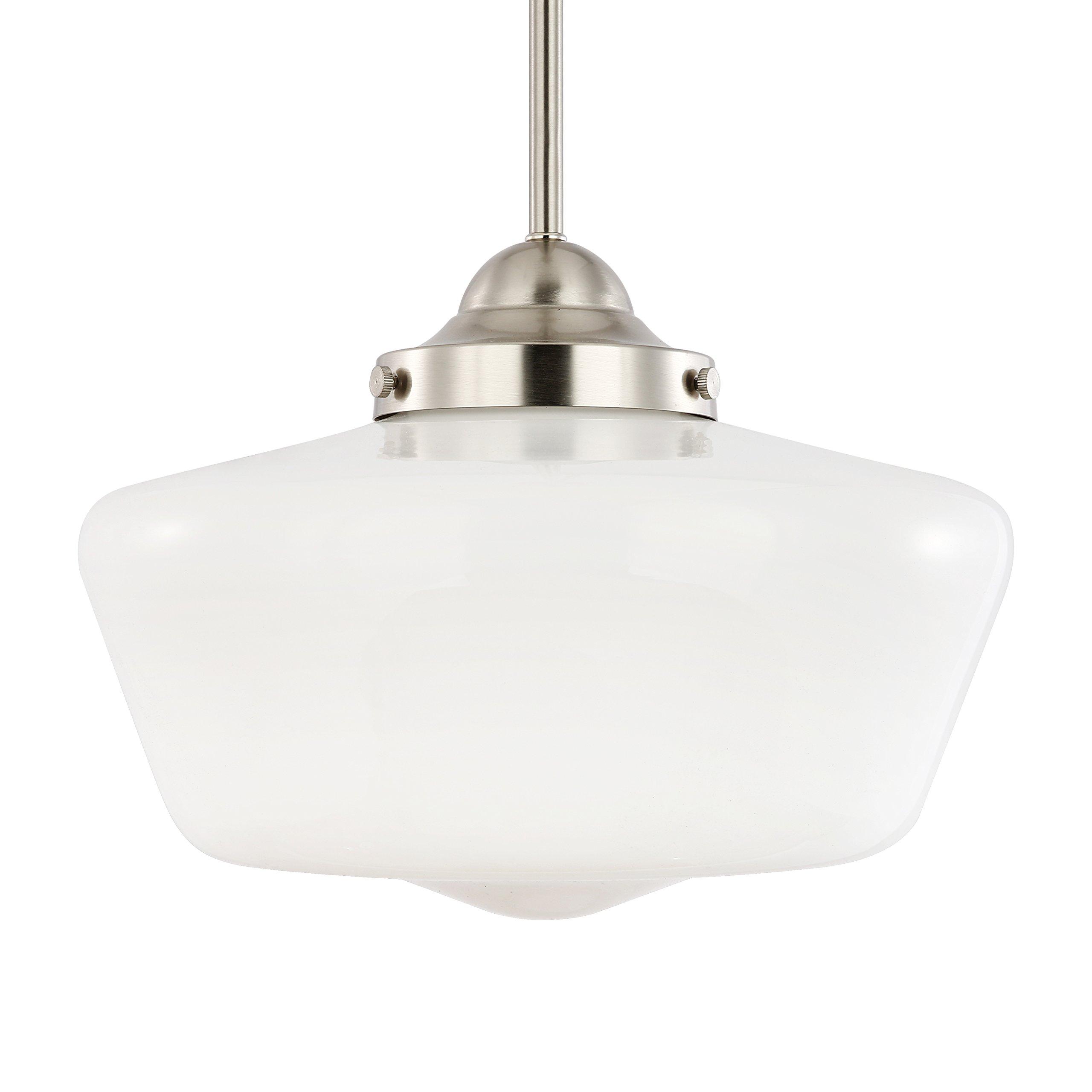 Light Society Portola Schoolhouse Pendant Light, Satin Nickel with White Opal Glass Shade, Classic Vintage Modern Lighting Fixture (LS-C251-SN-WH)