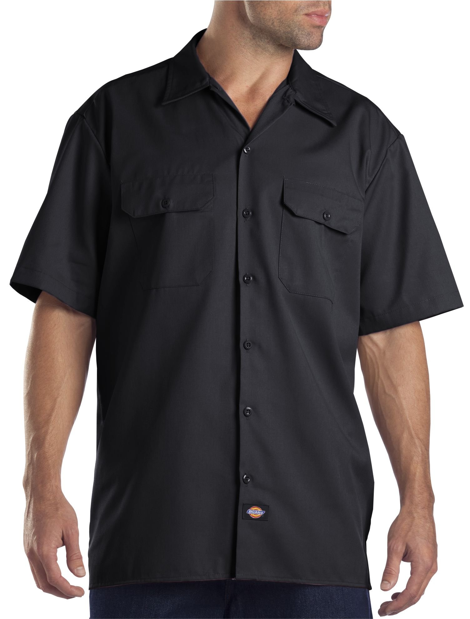 Dickies Men's Big and Tall Short Sleeve Work Shirt, Black, Extra Large