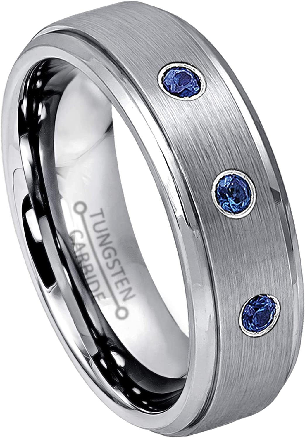 Jewelry Avalanche 0.07ct-0.021ctw Customizable 3-Stone Tungsten Birthstone Ring 6MM Brushed Finish Comfort Fit Stepped Edge Tungsten Carbide Wedding Band