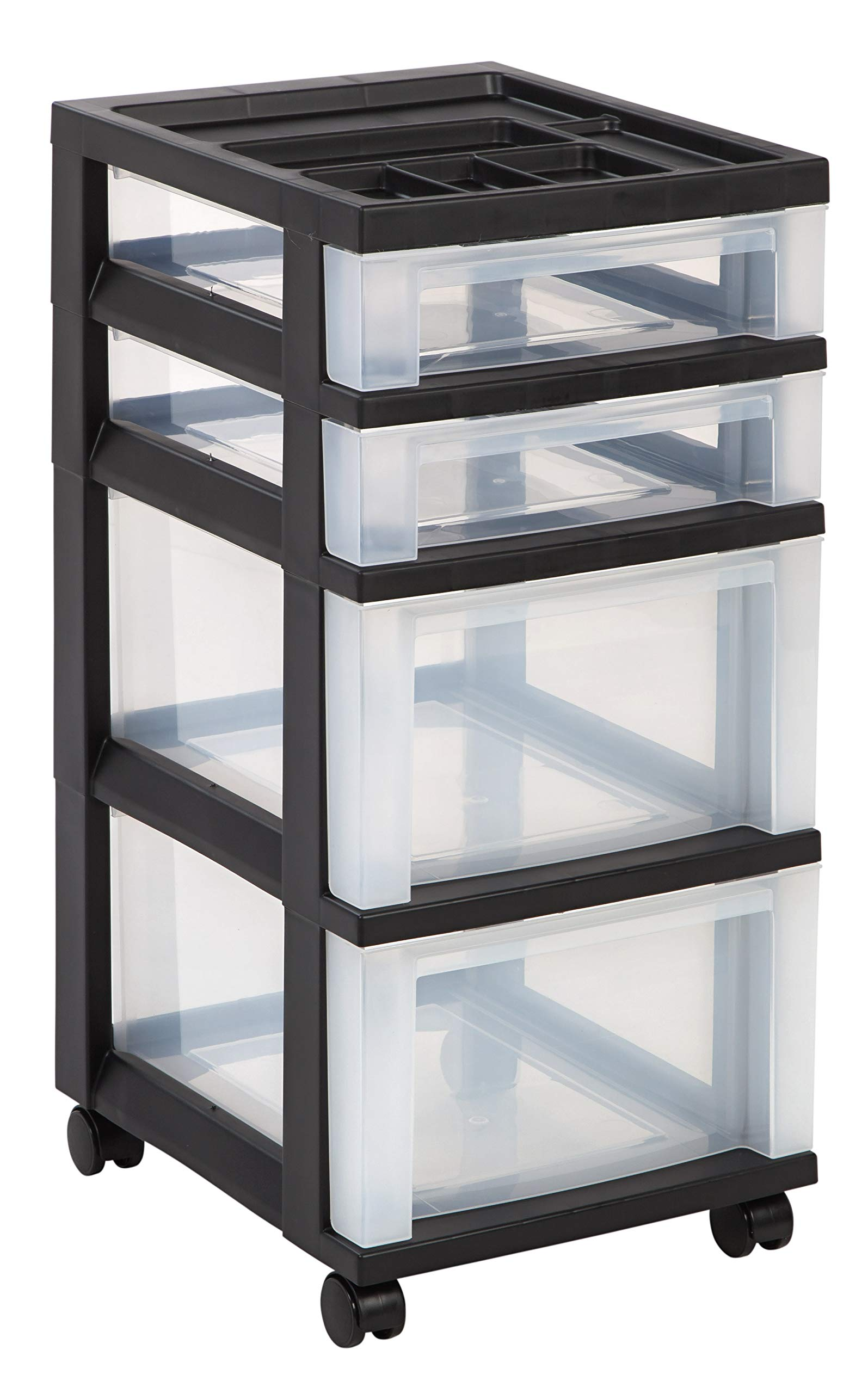 IRIS 4-Drawer Storage Cart with Organizer Top, Black (2 Set)