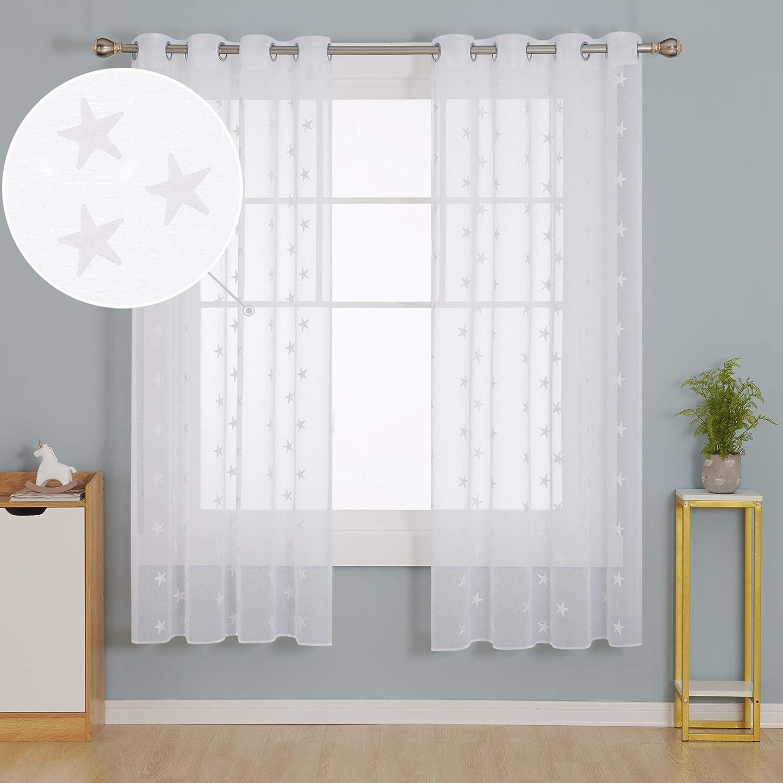 Deconovo Cortinas Visillos para Ventana Cortina Transparente con Ojales para Dormitorio 2 Piezas 140 x 183 cm Blanco: Amazon.es: Hogar