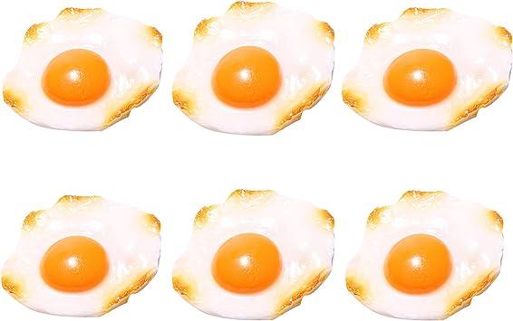 Paquete de 6 Huevos fritos Falsos para exhibir con un imán, Huevos ...