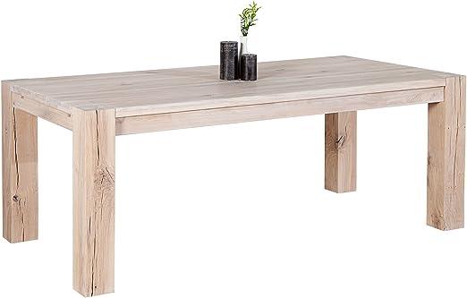Massiver Esstisch WILD OAK 200cm weiß geölt made in EU Tisch