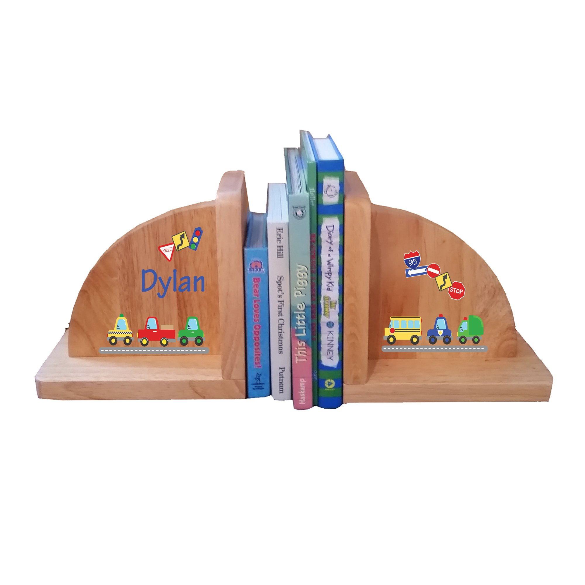 Personalized Cars and Trucks Natural Childrens Wooden Bookends