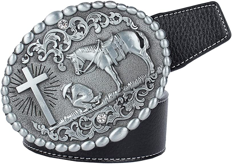 Army Belt Buckle Western Cowboy SILVER Skull Long HIGH QUALITY