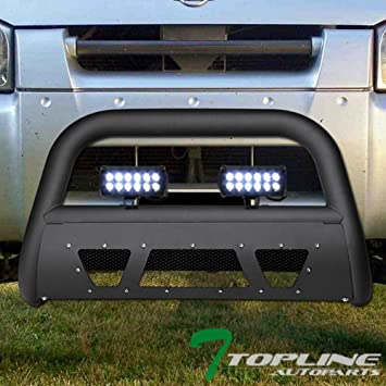 02-04 Xterra Topline Autopart Matte Black Studded Mesh Bull Bar Brush Push Front Bumper Grill Grille Guard With Skid Plate For 01-04 Nissan Frontier
