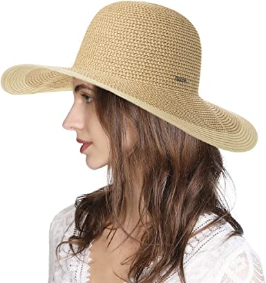 Comhats Womens Sun Hat Floppy UPF 50 UV Protection Wide Brim Straw Beach Sunhat Summer Holiday Accessroies Packable Adjustable